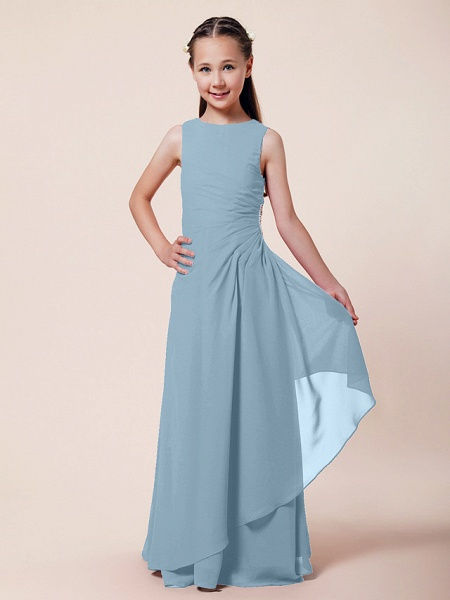 A-Line / Sheath / Column Bateau Neck Floor Length Chiffon Junior Bridesmaid Dress With Beading / Side Draping / Spring / Summer / Fall / Winter / Wedding Party_27