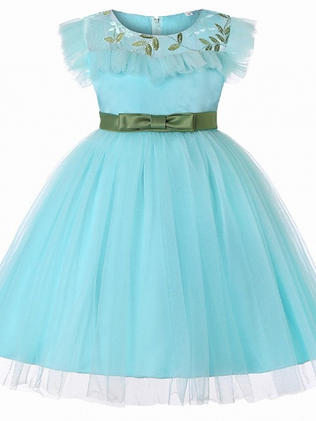 Princess / Ball Gown Floor Length Wedding / Party Flower Girl Dresses - Tulle Short Sleeve Jewel Neck With Sash / Ribbon / Bow(S) / Embroidery_4
