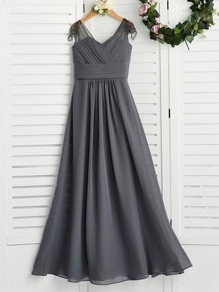 A-Line V Neck Maxi Chiffon Junior Bridesmaid Dress With Ruching_1