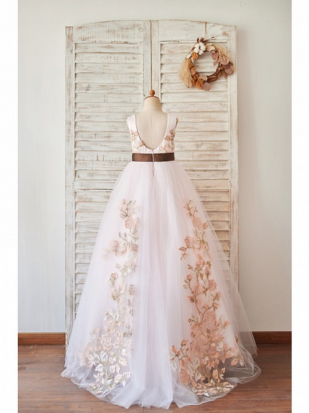 Princess / Ball Gown Floor Length Wedding / Birthday Flower Girl Dresses - Tulle Sleeveless Jewel Neck With Belt / Embroidery_2