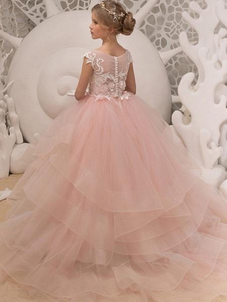 Ball Gown Floor Length Wedding / Birthday Flower Girl Dresses - Polyester Sleeveless Jewel Neck With Ruffles / Appliques_2
