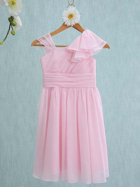 Sheath / Column Straps Knee Length Chiffon Junior Bridesmaid Dress With Ruffles / Side Draping / Natural_1