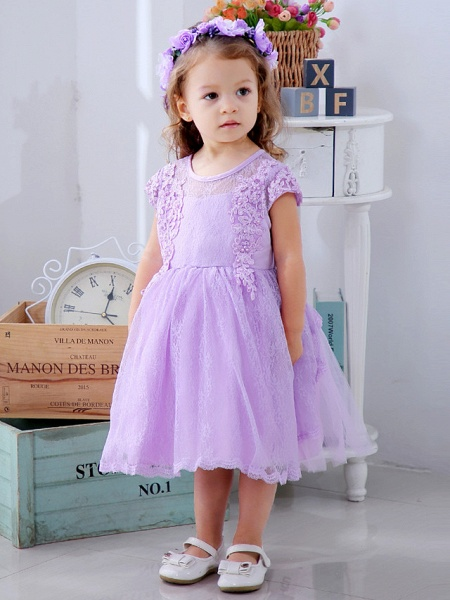 Ball Gown Medium Length Wedding / Party Flower Girl Dresses - Lace / Satin / Tulle Short Sleeve / Sleeveless Jewel Neck With Lace / Bow(S) / Appliques_6