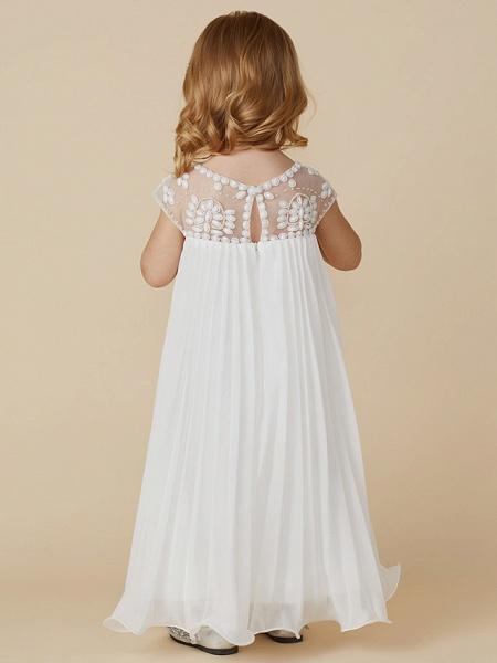Sheath / Column Knee Length Wedding / First Communion / Holiday Flower Girl Dresses - Chiffon Short Sleeve Jewel Neck With Beading / Draping_2