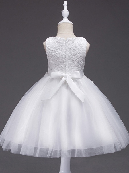 Princess Midi Wedding / First Communion / Birthday Flower Girl Dresses - Lace / Tulle Sleeveless Jewel Neck With Lace / Bow(S) / Appliques_2