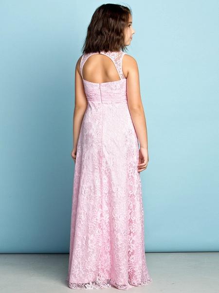 Sheath / Column Jewel Neck Floor Length Lace Junior Bridesmaid Dress With Lace / Natural / Mini Me_5