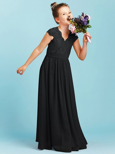 Princess / A-Line V Neck Floor Length Chiffon / Lace Junior Bridesmaid Dress With Sash / Ribbon / Pleats / Wedding Party_35