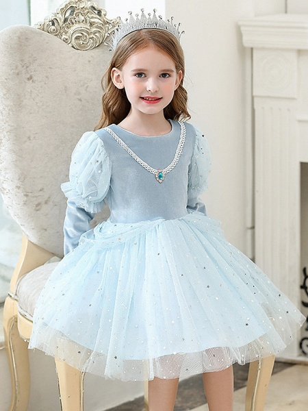 Princess / Ball Gown Knee Length Wedding / Party Flower Girl Dresses - Tulle Long Sleeve Jewel Neck With Crystals / Paillette_4