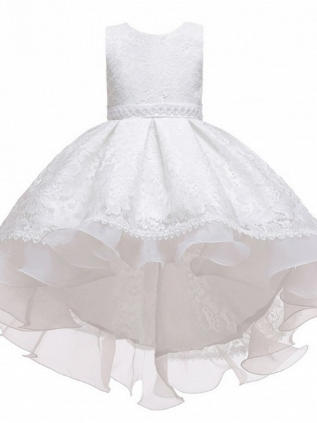 Princess / Ball Gown Floor Length Wedding / Party Flower Girl Dresses - Lace / Tulle Sleeveless Jewel Neck With Sash / Ribbon / Embroidery_5