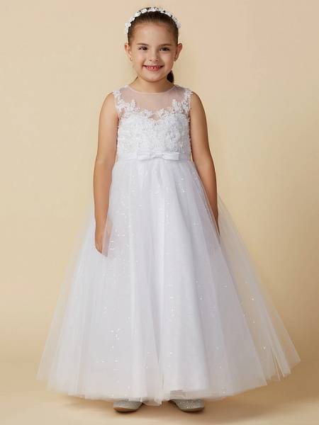Princess Ankle Length Wedding / First Communion Lace / Tulle Sleeveless Boat Neck With Lace / Bow(S)_4