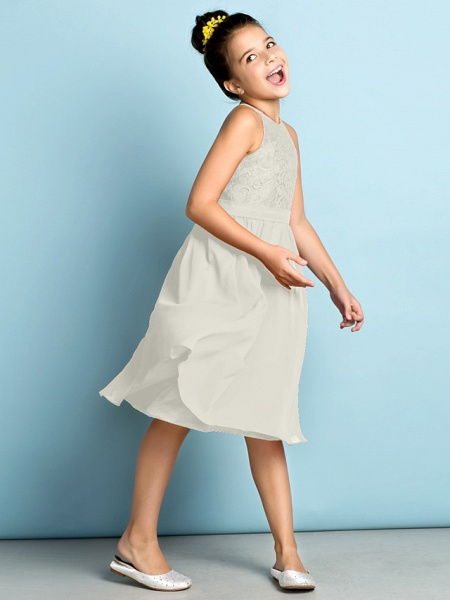 A-Line Jewel Neck Knee Length Chiffon / Lace Junior Bridesmaid Dress With Lace / Natural / Mini Me_49