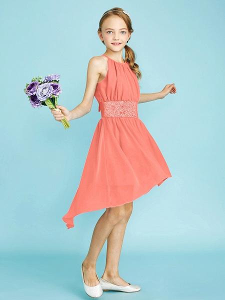 Sheath / Column Jewel Neck Asymmetrical Chiffon Junior Bridesmaid Dress With Sequin / Natural_35