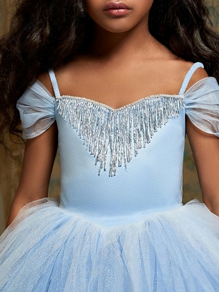 Ball Gown Floor Length Pageant Flower Girl Dresses - Polyester Short Sleeve Spaghetti Strap With Pendant_2