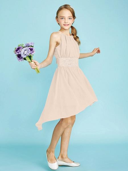 Sheath / Column Jewel Neck Asymmetrical Chiffon Junior Bridesmaid Dress With Sequin / Natural_18