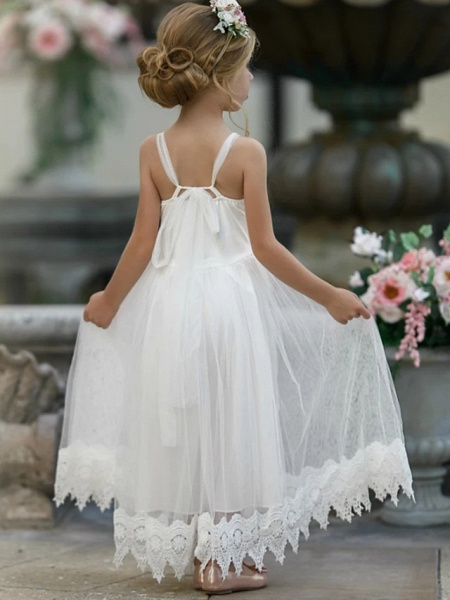 Princess / A-Line Knee Length Wedding / Party Flower Girl Dresses - Lace Sleeveless Jewel Neck With Tier / Solid_3