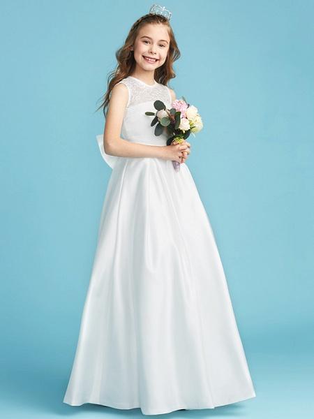 Princess / A-Line Jewel Neck Floor Length Lace / Satin Junior Bridesmaid Dress With Lace / Bow(S) / Pleats_3