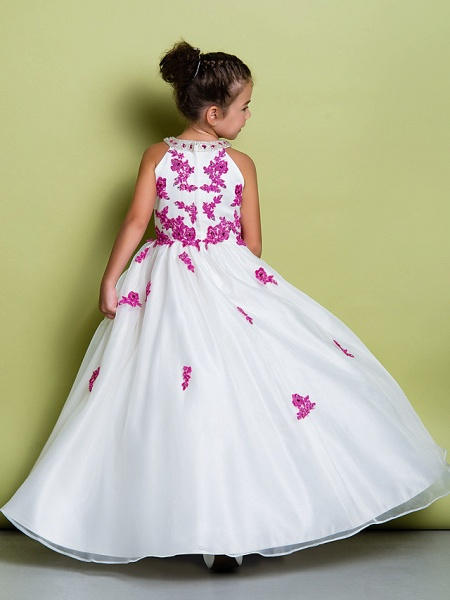A-Line Floor Length Pageant Flower Girl Dresses - Organza Sleeveless Jewel Neck With Beading / Appliques_6