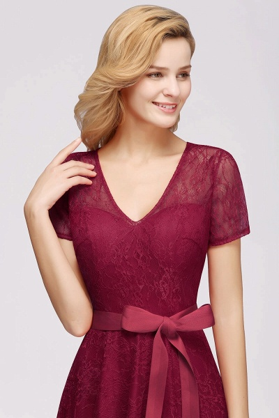 Short Sleeves V-neck Lace Dresses with Bow Sash_7