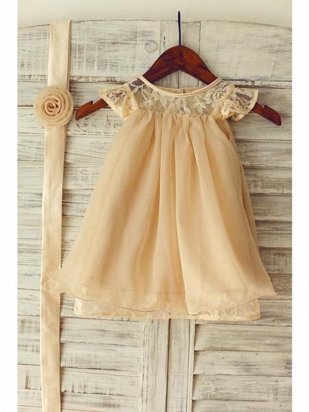 A-Line Tea Length Holiday Flower Girl Dresses - Chiffon / Lace Sleeveless Jewel Neck With Lace / Pleats_5