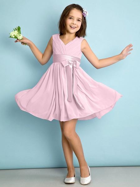 A-Line V Neck Knee Length Chiffon Junior Bridesmaid Dress With Bow(S) / Criss Cross / Natural_9