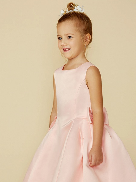 Ball Gown Tea Length Pageant Flower Girl Dresses - Satin Sleeveless Jewel Neck With Bow(S)_5