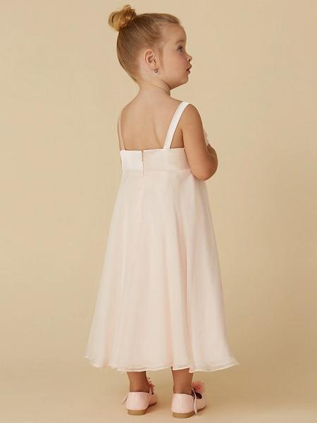 Sheath / Column Tea Length Pageant Flower Girl Dresses - Chiffon Sleeveless Straps With Flower_2