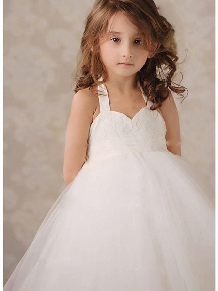 A-Line Knee Length Wedding / Party Flower Girl Dresses - Lace / Tulle Sleeveless Jewel Neck With Ruching_2