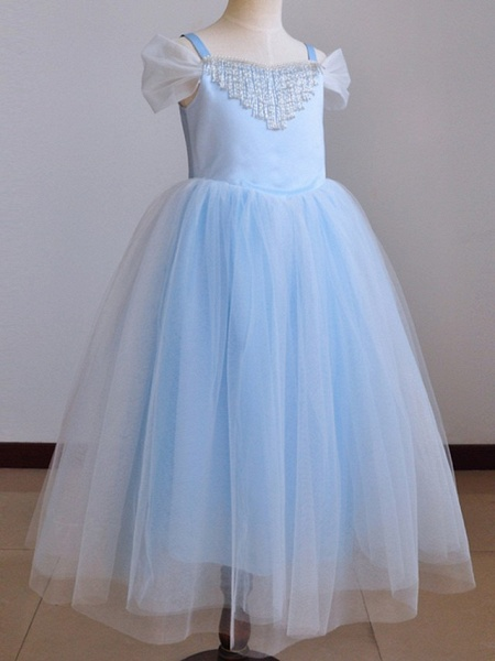Ball Gown Floor Length Pageant Flower Girl Dresses - Polyester Short Sleeve Spaghetti Strap With Pendant_6