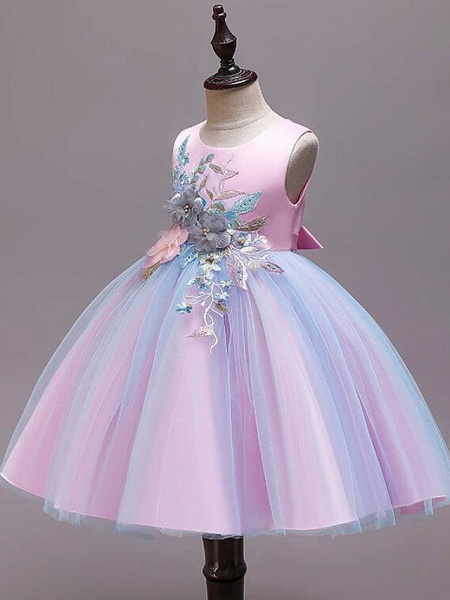 Princess Knee Length Wedding / Party / Pageant Flower Girl Dresses - Satin / Tulle / Cotton Sleeveless Jewel Neck With Belt / Embroidery / Appliques_6
