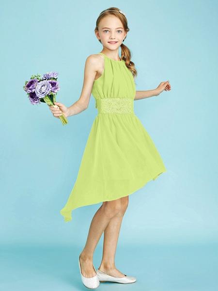 Sheath / Column Jewel Neck Asymmetrical Chiffon Junior Bridesmaid Dress With Sequin / Natural_43