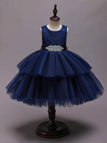 Princess Asymmetrical Wedding / Party / Pageant Flower Girl Dresses - Satin / Tulle Sleeveless Jewel Neck With Belt / Crystals / Rhinestones_2