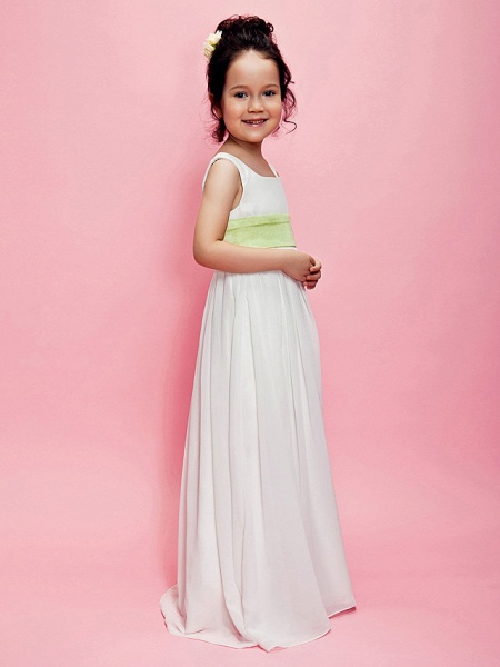 Princess / A-Line Floor Length Wedding Party Chiffon Sleeveless Square Neck With Sash / Ribbon / Draping / Spring / Summer / Fall_2