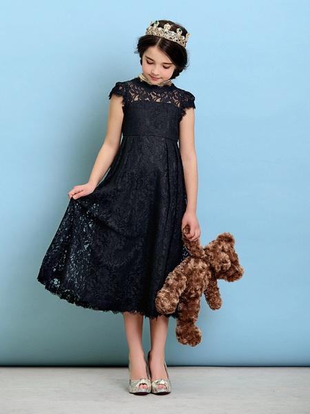 Princess / A-Line Jewel Neck Tea Length Lace Junior Bridesmaid Dress With Pleats / Natural_2
