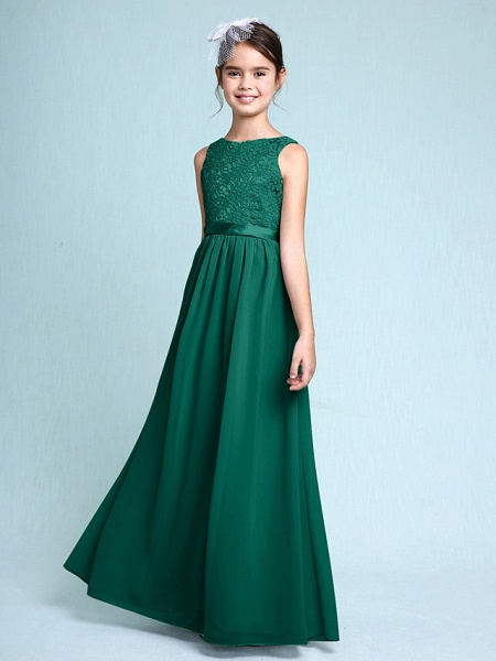 Sheath / Column Bateau Neck Floor Length Chiffon / Lace Junior Bridesmaid Dress With Lace / Natural_27