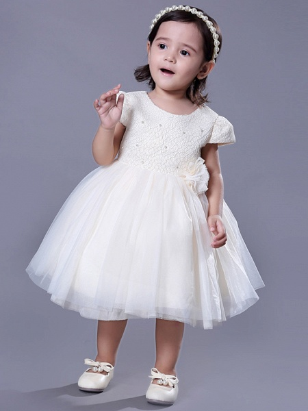 Ball Gown Royal Length Train / Medium Length Wedding / Event / Party Flower Girl Dresses - Lace Short Sleeve Jewel Neck With Belt / Beading / Flower_3