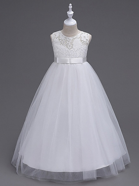 Princess Long Length Wedding / First Communion Flower Girl Dresses - Lace / Tulle Sleeveless Jewel Neck With Lace / Bow(S) / Embroidery_11