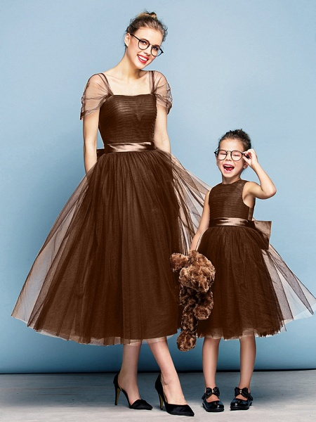 Princess Tea Length Party / Prom / Formal Evening Flower Girl Dresses - Tulle Short Sleeve Square Neck With Bow(S) / Ruched / Elegant_23