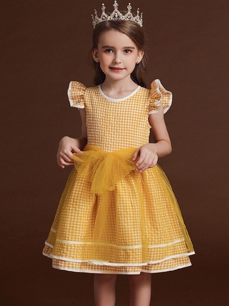 Ball Gown Knee Length Party / Birthday Flower Girl Dresses - Polyester / Cotton / Tulle Cap Sleeve Jewel Neck With Bow(S) / Ruffles_2