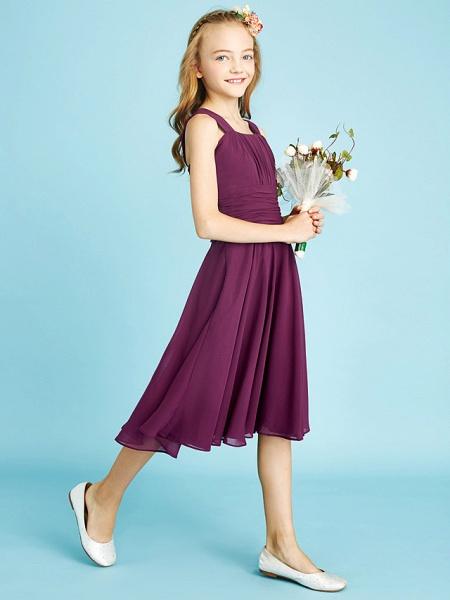 A-Line Straps Knee Length Chiffon Junior Bridesmaid Dress With Sash / Ribbon / Ruched / Draping / Natural_7