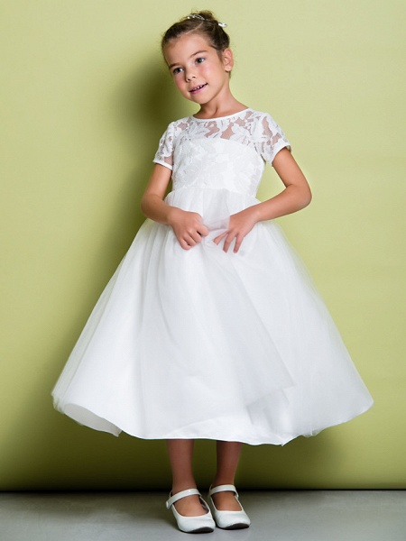 A-Line Tea Length Wedding / First Communion Flower Girl Dresses - Lace / Tulle Short Sleeve Jewel Neck With Lace_3
