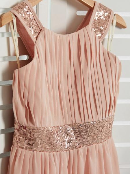 A-Line Jewel Neck Maxi Chiffon Junior Bridesmaid Dress With Lace / Sash / Ribbon_4