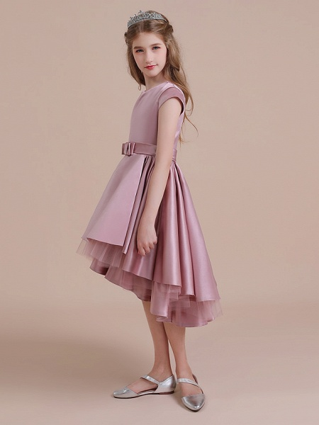 A-Line Asymmetrical Christmas / Birthday / Pageant Flower Girl Dresses - Satin / Tulle Sleeveless Jewel Neck With Side Draping_4