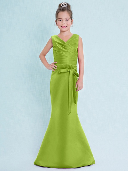 Mermaid / Trumpet V Neck Floor Length Satin Junior Bridesmaid Dress With Criss Cross / Natural_29