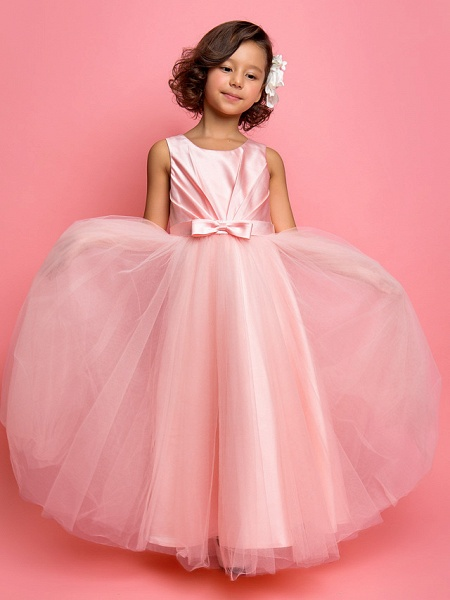 Princess / A-Line Ankle Length Satin / Tulle Sleeveless Jewel Neck With Sash / Ribbon / Bow(S) / Side Draping_1