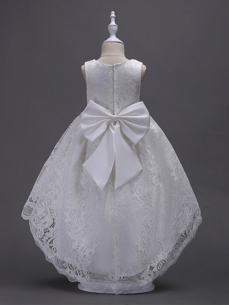 Princess Asymmetrical Wedding / First Communion Flower Girl Dresses - Lace / Satin / Tulle Sleeveless V Wire With Lace / Belt / Bow(S)_2
