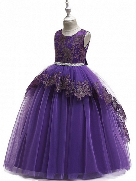 Ball Gown Floor Length Pageant Flower Girl Dresses - Tulle Sleeveless Jewel Neck With Lace / Bow(S)_2