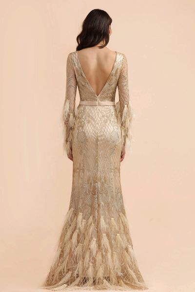 Champange Mermaid Long sleeves V-back Prom Dress_3