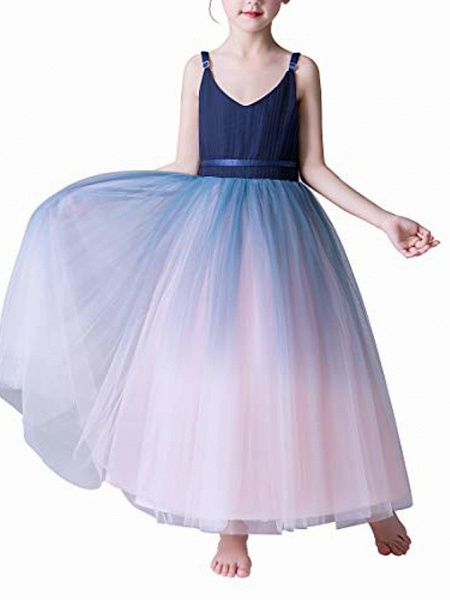 Girls Lace Bridesmaid Dress Long A Line Wedding Pageant Dresses Flower Girls Princess Ombre Tulle Party Gown Age 3-16Y &Amp; # 40; 3T - 4T, V-Navy Blue&Amp; Blush Pink&Amp;;_6