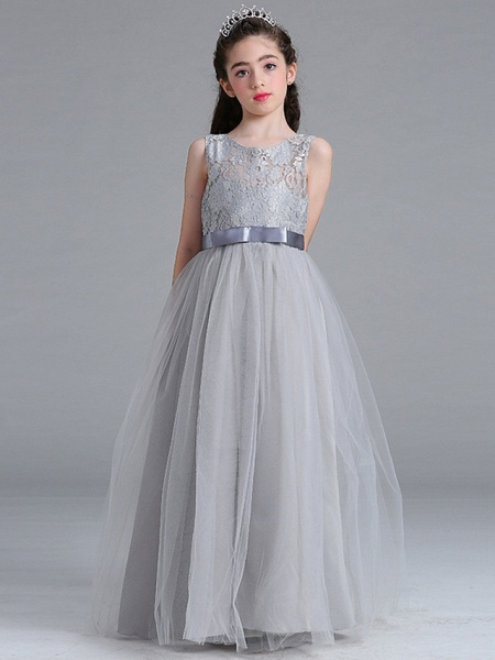 A-Line Round Floor Length Cotton Junior Bridesmaid Dress With Lace / Bow(S)_3