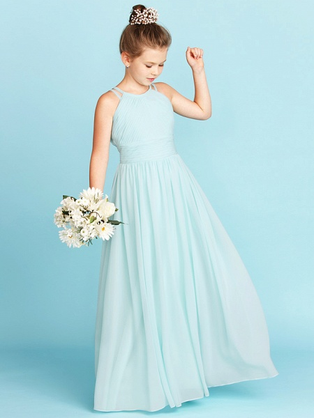 Princess / A-Line Jewel Neck Floor Length Chiffon Junior Bridesmaid Dress With Ruched / Side-Draped / Wedding Party / Open Back_3